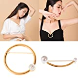 2 Pcs Simple Style Gold Electroplate Alloy with Artificial Pearl Ornament Garment Brooch Pin Shawl Scarf Buckle Open Shirt Edge Button Clamp Elegant Accessories (Crescent Shape and Round Shape) (Color: Gold)