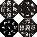 Nail Art Polish Stamp Stamping Manicure Image Plates Set Kit 4 Pc