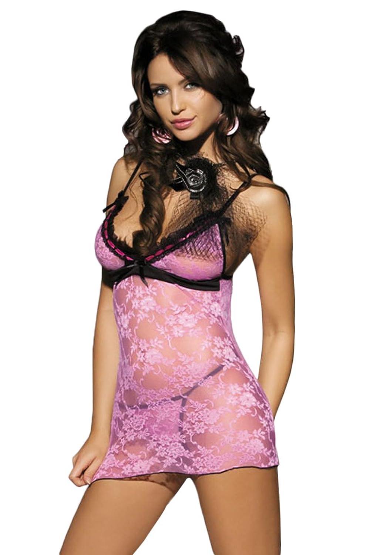 Schickes Babydoll Nachtwäsche Nachthemd Dessous Nachtkleid Negligee rosa