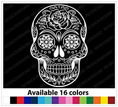 OSMdecals - Sugar Skull Sticker Version 38 - Day of the Dead Vinyl Wall Home Decor Car Window Decal Sticker from OSMdecals
