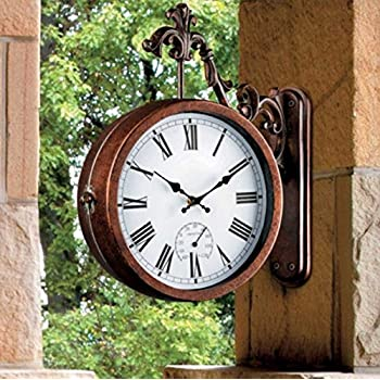 Vintage Style 2 Sided Outdoor Thermometer Wall Clock with Mounting Bracket