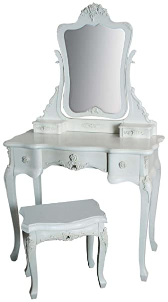"""Rose"" French Louis Style Ladies Dressing Table & Mirror White ~Shabby Chic!"