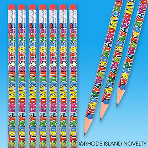 "Dozen Happy Birthday From Your Teacher Wood Pencils - 7.5"" - 1"