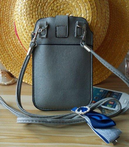 Crazy Panda Gray Color Universal Portable Phone Purse Bag Pouch Soft Shoulder Strap Wristlet Wallet Case Messenger Samsung Galaxy S3 S4 I9295 N719 I9260 Htc One X920E Lg Nexus 5 G2 F240K Moto X Blackberry 9900 9930 9630 9788 (Smoke Gray)