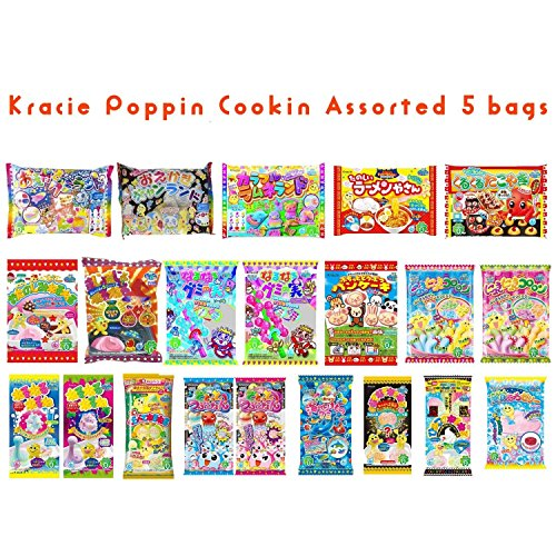 Assorted 5 bags Kracie Poppin' Cookin' DIY Gummy Candy Making Kit Takoyaki, Nerune, Ramen, Tsubupyon (Japanese Gummy Making Kit compare prices)