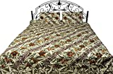 Exotic India Nutria-Green Batik Bedspread from Pilkhuwa with Printed Flowers - Pure Cotton with Pill