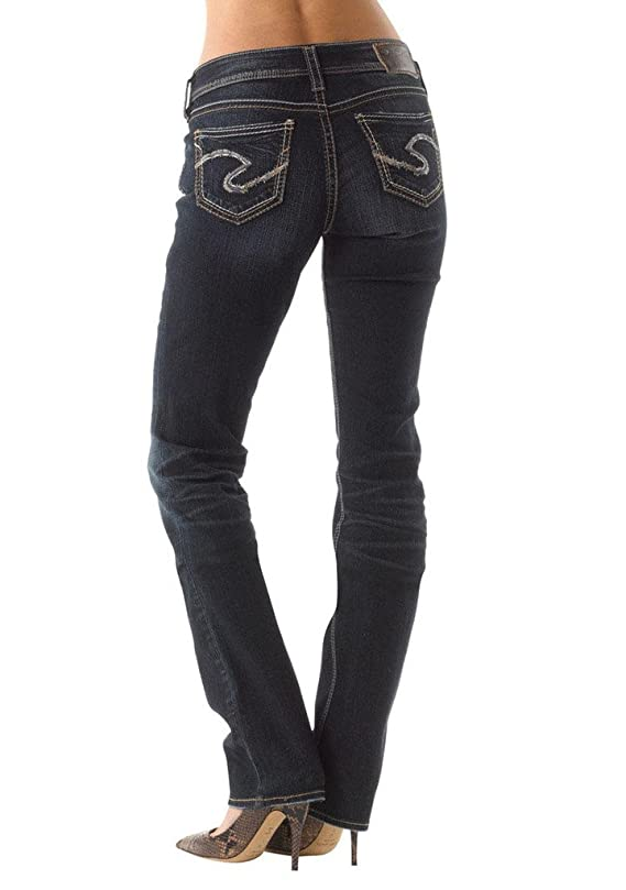Silver Jeans Women Suki Mid Rise Baby Boot Curvy Fit Stretch in Dark Blue