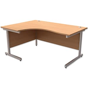 Trexus Contract Radial Desk Left Hand Silver Legs W1600xD1200xH725mm Beech       Office Productsreviews and more information