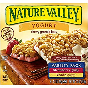 Nature Valley Chewy Yogurt Granola Bars Variety Pack, Vanilla and Strawberry, 6 Count