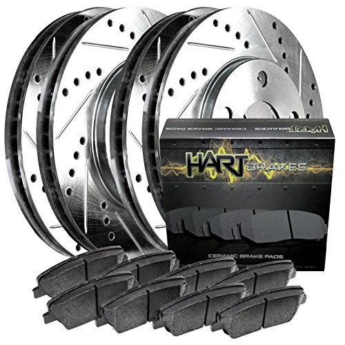 1992-1996 Prelude Full Kit Hart Drilled Slotted Brake Rotors and Ceramic Pads (Honda Prelude Brakes compare prices)