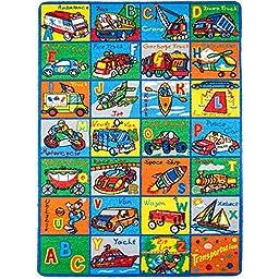 MYBECCA\'s Kids Rug ABC TRANSPORTATION Educational Area Rug 4\'11\
