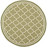 """Safavieh Courtyard Collection CY6918-244 Green and Beige Round Area Rug, 7 feet 10 inches in Diameter (7'10"""" Diameter)"""