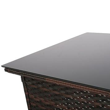 Miadomodo table table basse de jardin terrasse couleur marron marron - Table basse terrasse ...