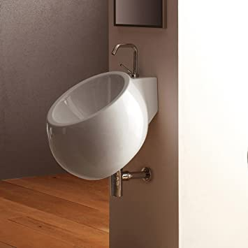 Scarabeo Scarabeo 8100-One Hole-637509860455 Porcelain Round and Wall Mounted Bathroom Sink, White