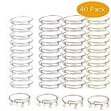 40Pack Expandable Bangle Bracelets Adjustable Wire Bracelets Stainless Steel Blank Bracelets for DIY Jewelry Making