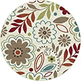 Universal Rugs 1008 Deco Round Transitional Area Rug, 5-Feet 3-Inch, Ivory