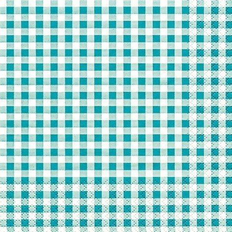 33 x 33 cm Lunch Servietten Türkis/Weiß Karo Muster, Vichy Design, 20 Stück, 3 lagig