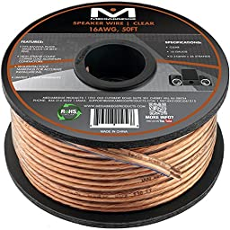 Mediabridge 16AWG Speaker Wire (50 Feet) - Spooled Design with Sequential Foot Markings - (Part# SW-16X2-50-CL )