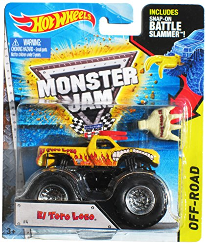 Hot Wheels Off-Road Monster Jam #4 Yellow El Toro Loco w/ Snap-on Battle Slammer - 1