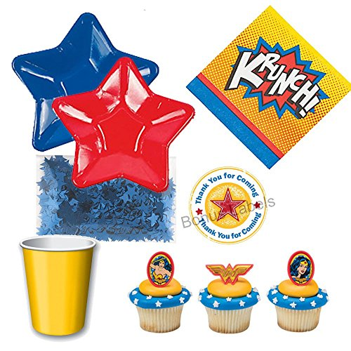 Wonder Woman theme Party Supplies for 12 guests small plates
