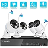 YESKAMO Wireless Security Camera System Outdoor 1080p [Floodlight & Audio] 2 x Floodlight Home Cameras 2 x Standard IP Camera 8 Channel NVR Support Two Way Talk,Color Night Vision,PIR Motion Detection (Color: 2pcs 1080P PIR Cams+2pcs 1080P Standard Cams+8CH NVR)