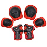 Sports Protective Gear Safety Pad Safeguard (Knee Elbow Wrist) Support Pad Set Equipment for Kids Youth Roller Bicycle BMX Bike Skateboard Hoverboard Protector Guards Pads(Red)