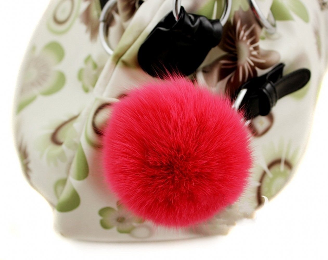 Fox Pompon Fuzzies Fox Fur Ball Use for Mobile Strap Coppia Keychain 4""