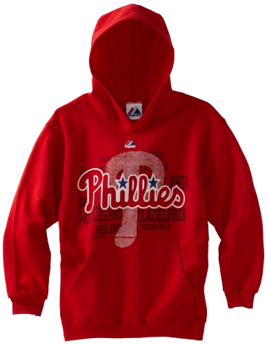 MLB Boys' Philadelphia Phillies Game Day Intensity Hooded Fleece Pullover (Athletic Red, Small) at Amazon.com