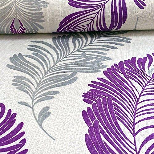 as creation farn blatt muster tapete glitzer motiv gepr gt strukturiertes vinyl lila wei 305094. Black Bedroom Furniture Sets. Home Design Ideas