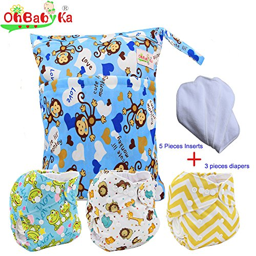 Baby Waterproof Nappy Diapers 3pcs, 5pcs Inserts,1 Wet Bag by Ohbabyka (Cloth Diaper Packages All In One compare prices)