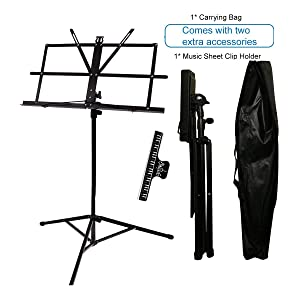 Music Stand Audo Folding Music Stand With Music Book Clip And Carry Bag Black