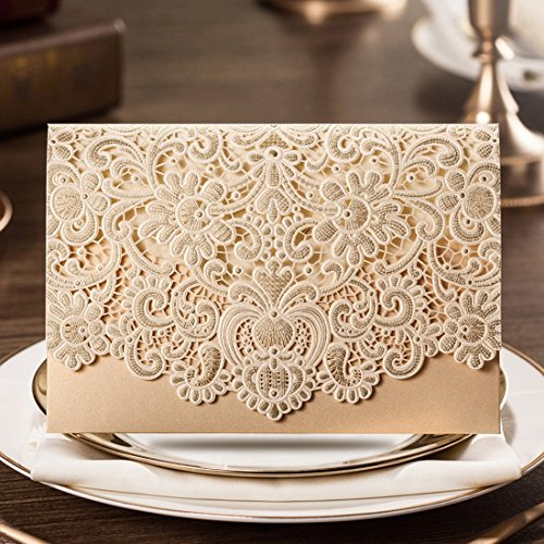 Wishmade 50x Horizontal Laser Cut Gold Wedding Invitations Cards Kits with Hollow Flora Favors Pearl Paper Cardstock(Set of 50pcs)