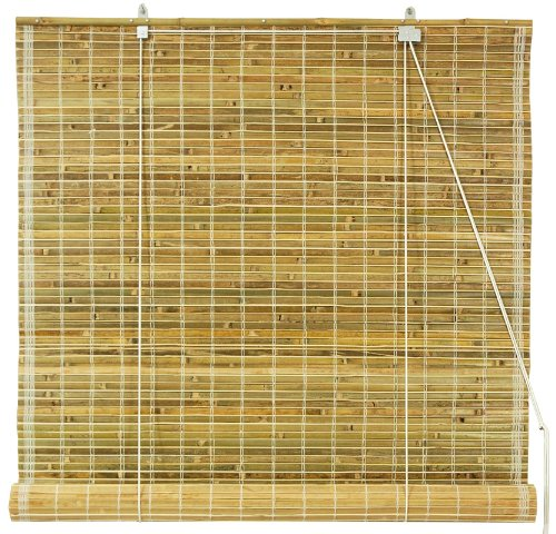 "Burnt Bamboo Roll Up Window Blinds - Natural - 60"" Wide"