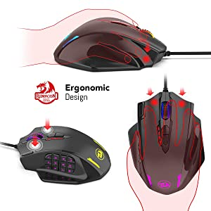 Redragon Impact RGB LED MMO Mouse with Side Buttons Laser Wired Gaming Mouse with 12,400DPI, High Precision, 19 Programmable Mouse Buttons (Color: Black)