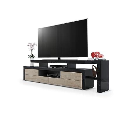Meuble TV bas Leon, Corps en Noir haute brillance / Façades en Chêne brut avec une bordure en Noir haute brillance