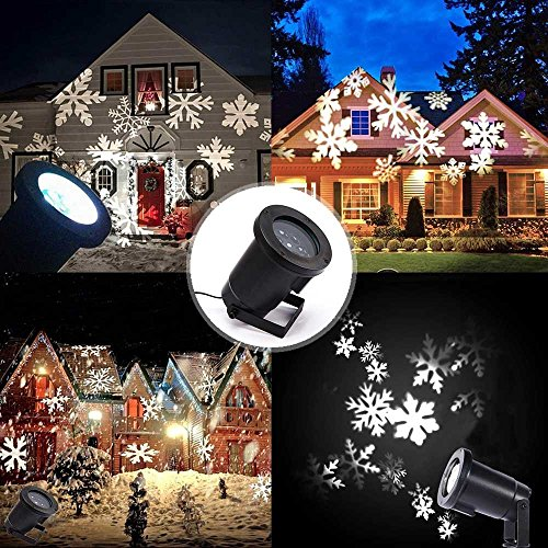 Podofo® Waterproof Snowflakes Lamp Light Sparkling Landscape LED Projector For Indoor Outdoor Christmas Holiday Home Decoration (White)