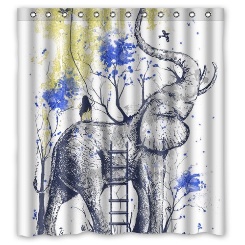 Newspaper Elephant Aztec Floral Trunk Personalize Bath Curtain Waterproof Bathroom Shower 66 X 72Perfect As Christmas Gift 02
