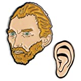 The Unemployed Philosophers Guild Van Gogh and Ear Enamel Pin Set - 2 Unique Colored Metal Lapel Pins (Color: Van Gogh and Ear, Tamaño: Small)