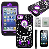 Able® 3-Piece Hybrid Heavy Duty High Impact Rugged Case Cover For Apple Iphone 5 / 5S (D)