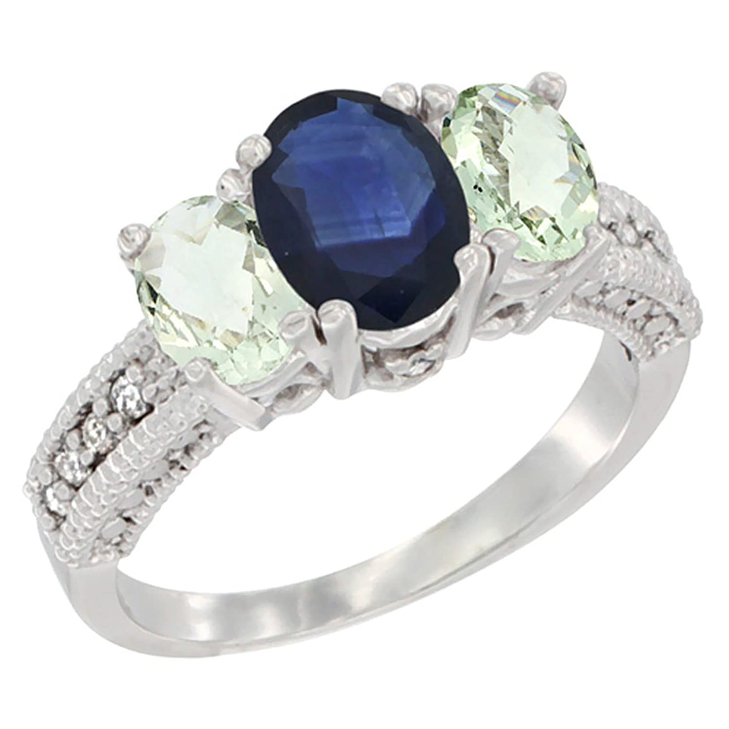 White Gold Diamond Natural Blue Sapphire Ring Oval 3stone With Green  Amethyst,