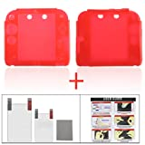 YUYIKES Protective Soft Silicone Skin Case Cover Shell for Nintendo 2DS + Clear LCD Screen Protector (Red)