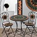 Mosaiksitzgarnitur TERRACOTTA 2x Stuhl + 1 Tisch Sitzgruppe Mosaiktisch Mosaikstuhl Gartentisch von Deuba auf Gartenmöbel von Du und Dein Garten