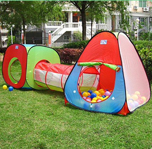 Kids-Playhouse-Tent-With-Tunnel-SetPortableFun-Outdoor-Indoor-Bounce-Playhouse-Ball-Tent-Toys-Perfect-Christmas-Gift-For-Toddlers-ChildBall-Pits-Not-Included