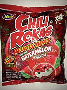 Watermelon Flavored Chili Covered and Filled Hard Candies, Dulces
