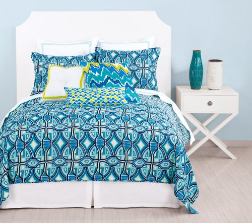 Trina Turk Palm Spring Block 400T Cotton - Solid White W/Turquoise Blue Embroidered Trim - Euro Sham New front-990263