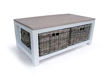 Southwold Cedar Wood off White Wooden 4 Rattan Drawer Coffee Table (22247).