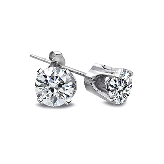 1/2 Ct Round Diamond 14K White Gold Stud Earrings 3.5