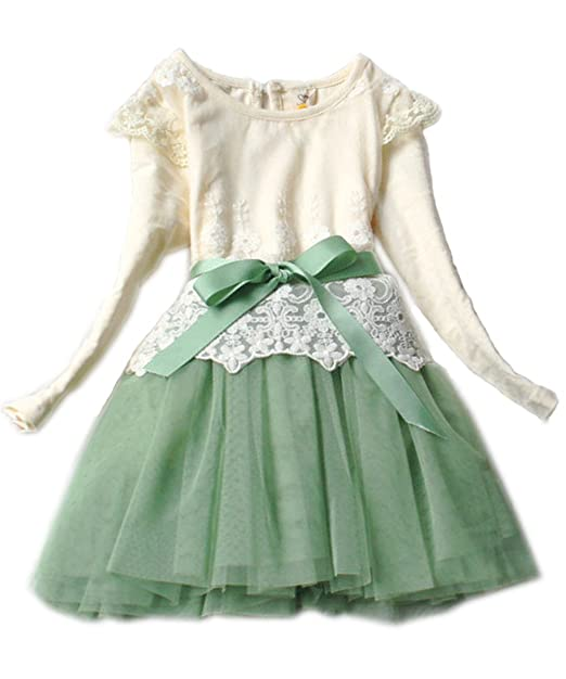 Kids-Toddler-Girls-Party-Long-Sleeve-Bow-Lace-Formal-Dress-Tulle-Tutu-Skirt