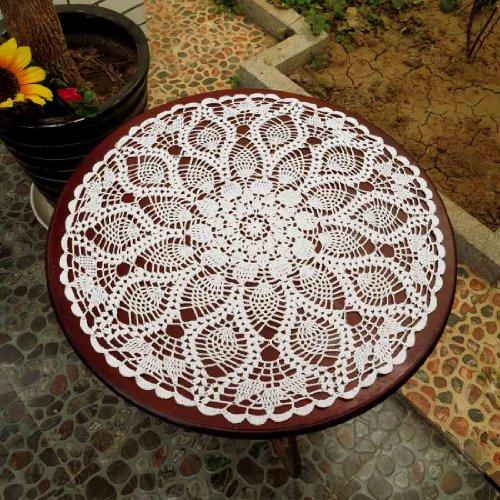 Kilofly Handmade Crochet Cotton Lace Table Sofa Doily Waterlily White 20 Inch Furniture