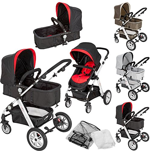 TecTake-2-en-1-Silla-de-paseo-aluminio-coches-carritos-para-bebes-convertible-con-proteccin-contra-mosquitos-y-proteccin-contra-lluvia-disponible-en-diferentes-colores